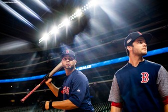 HOUSTON, TX - OCTOBER 15: Xander Bogaerts #2 and Andrew Benintendi #16 of the Boston Red Sox look on during a workout before game three of the American League Championship Series against the Houston Astros on October 15, 2018 at Minute Maid Park in Houston, Texas. (Photo by Billie Weiss/Boston Red Sox/Getty Images) *** Local Caption *** Xander Bogaerts; Andrew Benintendi