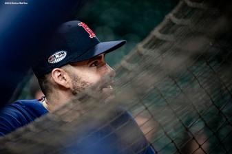 HOUSTON, TX - OCTOBER 15: J.D. Martinez #28 of the Boston Red Sox looks on during a workout before game three of the American League Championship Series against the Houston Astros on October 15, 2018 at Minute Maid Park in Houston, Texas. (Photo by Billie Weiss/Boston Red Sox/Getty Images) *** Local Caption *** J.D. Martinez