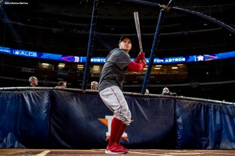 HOUSTON, TX - OCTOBER 15: Brock Holt #12 of the Boston Red Sox takes batting practice during a workout before game three of the American League Championship Series against the Houston Astros on October 15, 2018 at Minute Maid Park in Houston, Texas. (Photo by Billie Weiss/Boston Red Sox/Getty Images) *** Local Caption *** Brock Holt