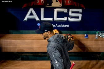 HOUSTON, TX - OCTOBER 15: Mookie Betts #50 of the Boston Red Sox walks through the dugout during a workout before game three of the American League Championship Series against the Houston Astros on October 15, 2018 at Minute Maid Park in Houston, Texas. (Photo by Billie Weiss/Boston Red Sox/Getty Images) *** Local Caption *** Mookie Betts