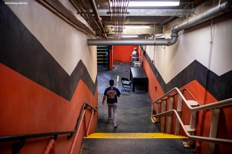 HOUSTON, TX - OCTOBER 16: Andrew Benintendi #16 of the Boston Red Sox walks through the tunnel before game three of the American League Championship Series against the Houston Astros on October 16, 2018 at Minute Maid Park in Houston, Texas. (Photo by Billie Weiss/Boston Red Sox/Getty Images) *** Local Caption *** Andrew Benintendi