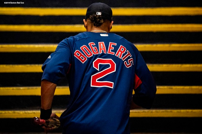 HOUSTON, TX - OCTOBER 16: Xander Bogaerts #2 of the Boston Red Sox walks up the steps inside the tunnel before game three of the American League Championship Series against the Houston Astros on October 16, 2018 at Minute Maid Park in Houston, Texas. (Photo by Billie Weiss/Boston Red Sox/Getty Images) *** Local Caption *** Xander Bogaerts