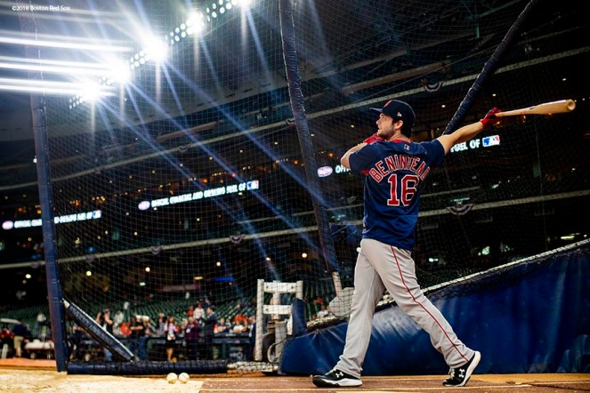 HOUSTON, TX - OCTOBER 16: Andrew Benintendi #16 of the Boston Red Sox takes batting practice before game three of the American League Championship Series against the Houston Astros on October 16, 2018 at Minute Maid Park in Houston, Texas. (Photo by Billie Weiss/Boston Red Sox/Getty Images) *** Local Caption *** Andrew Benintendi