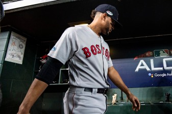 HOUSTON, TX - OCTOBER 16: Xander Bogaerts #2 of the Boston Red Sox walks through the dugout before game three of the American League Championship Series against the Houston Astros on October 16, 2018 at Minute Maid Park in Houston, Texas. (Photo by Billie Weiss/Boston Red Sox/Getty Images) *** Local Caption *** Xander Bogaerts