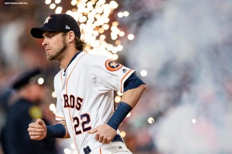 HOUSTON, TX - OCTOBER 16: Josh Reddick #22 of the Houston Astros is introduced before game three of the American League Championship Series against the Boston Red Sox on October 16, 2018 at Minute Maid Park in Houston, Texas. (Photo by Billie Weiss/Boston Red Sox/Getty Images) *** Local Caption *** Josh Reddick