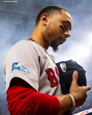 HOUSTON, TX - OCTOBER 16: Mookie Betts #50 of the Boston Red Sox looks on as the National Anthem is played before game three of the American League Championship Series against the Houston Astros on October 16, 2018 at Minute Maid Park in Houston, Texas. (Photo by Billie Weiss/Boston Red Sox/Getty Images) *** Local Caption *** Mookie Betts