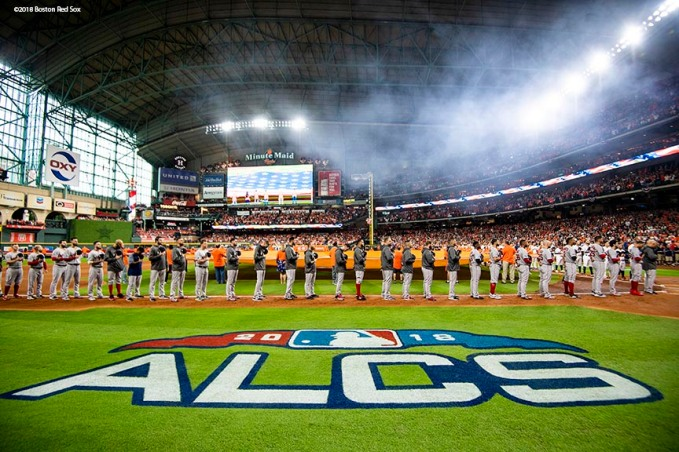 HOUSTON, TX - OCTOBER 16: Members of the Boston Red Sox are introduced before game three of the American League Championship Series against the Houston Astros on October 16, 2018 at Minute Maid Park in Houston, Texas. (Photo by Billie Weiss/Boston Red Sox/Getty Images) *** Local Caption ***