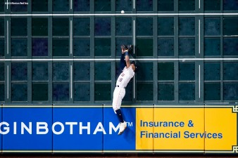 HOUSTON, TX - OCTOBER 16: Tony Kemp #18 of the Houston Astros catches a deep fly ball against the left field wall in the third inning against the Boston Red Sox during Game Three of the American League Championship Series at Minute Maid Park on October 16, 2018 in Houston, Texas. (Photo by Billie Weiss/Boston Red Sox/Getty Images) *** Local Caption *** Tony Kemp