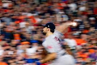 HOUSTON, TX - OCTOBER 16: Nathan Eovaldi #17 of the Boston Red Sox delivers during the eighth inning of game three of the American League Championship Series against the Houston Astros on October 16, 2018 at Minute Maid Park in Houston, Texas. (Photo by Billie Weiss/Boston Red Sox/Getty Images) *** Local Caption *** Nathan Eovaldi