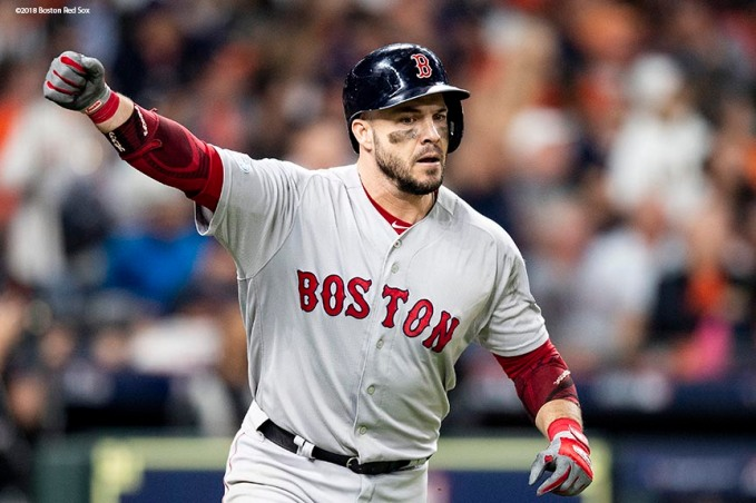 HOUSTON, TX - OCTOBER 16: Steve Pearce #25 of the Boston Red Sox reacts after hitting a solo home run during the sixth inning of game three of the American League Championship Series against the Houston Astros on October 16, 2018 at Minute Maid Park in Houston, Texas. (Photo by Billie Weiss/Boston Red Sox/Getty Images) *** Local Caption *** Steve Pearce