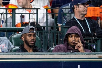 HOUSTON, TX - OCTOBER 16: Chris Paul and Carmelo Anthony attend game three of the American League Championship Series between the Boston Red Sox and the Houston Astros on October 16, 2018 at Minute Maid Park in Houston, Texas. (Photo by Billie Weiss/Boston Red Sox/Getty Images) *** Local Caption *** Chris Paul; Carmelo Anthony