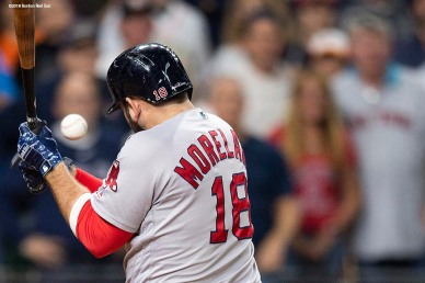 HOUSTON, TX - OCTOBER 16: Mitch Moreland #18 of the Boston Red Sox is hit by a pitch during the eighth inning of game three of the American League Championship Series against the Houston Astros on October 16, 2018 at Minute Maid Park in Houston, Texas. (Photo by Billie Weiss/Boston Red Sox/Getty Images) *** Local Caption *** Mitch Moreland