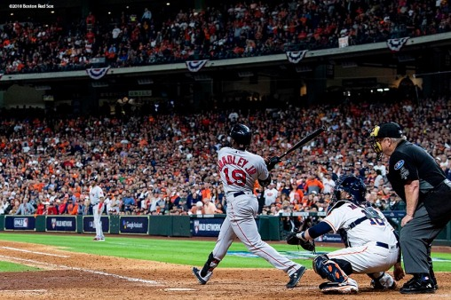 HOUSTON, TX - OCTOBER 16: Jackie Bradley Jr. #19 of the Boston Red Sox hits a grand slam home run during the eighth inning of game three of the American League Championship Series against the Houston Astros on October 16, 2018 at Minute Maid Park in Houston, Texas. (Photo by Billie Weiss/Boston Red Sox/Getty Images) *** Local Caption *** Jackie Bradley Jr.