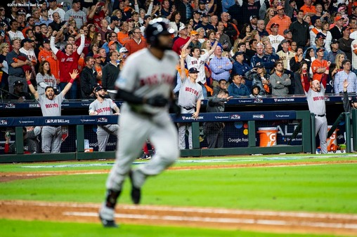 HOUSTON, TX - OCTOBER 16: Members of the Boston Red Sox react as Jackie Bradley Jr. #19 hits a grand slam home run during the eighth inning of game three of the American League Championship Series against the Houston Astros on October 16, 2018 at Minute Maid Park in Houston, Texas. (Photo by Billie Weiss/Boston Red Sox/Getty Images) *** Local Caption *** Jackie Bradley Jr.