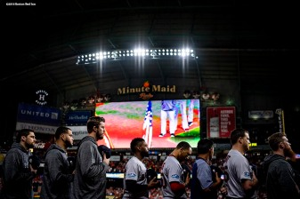 HOUSTON, TX - OCTOBER 17: Members of the Boston Red Sox look on during the National Anthem before game four of the American League Championship Series against the Houston Astros on October 17, 2018 at Minute Maid Park in Houston, Texas. (Photo by Billie Weiss/Boston Red Sox/Getty Images) *** Local Caption ***
