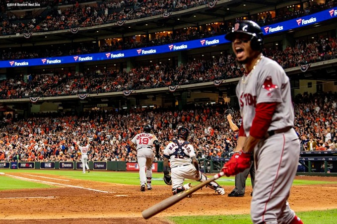 HOUSTON, TX - OCTOBER 17: Jackie Bradley Jr. #19 of the Boston Red Sox hits a two-run home run as Mookie Betts #50 reacts during the sixth inning of game four of the American League Championship Series against the Houston Astros on October 17, 2018 at Minute Maid Park in Houston, Texas. (Photo by Billie Weiss/Boston Red Sox/Getty Images) *** Local Caption *** Jackie Bradley Jr.; Mookie Betts