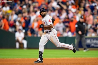 HOUSTON, TX - OCTOBER 17: Jackie Bradley Jr. #19 of the Boston Red Sox rounds the bases after hitting a two-run home run during the sixth inning of game four of the American League Championship Series against the Houston Astros on October 17, 2018 at Minute Maid Park in Houston, Texas. (Photo by Billie Weiss/Boston Red Sox/Getty Images) *** Local Caption *** Jackie Bradley Jr.