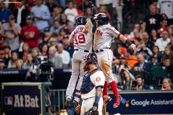HOUSTON, TX - OCTOBER 17: Jackie Bradley Jr. #19 of the Boston Red Sox reacts with Christian Vazquez #7 after hitting a two-run home run during the sixth inning of game four of the American League Championship Series against the Houston Astros on October 17, 2018 at Minute Maid Park in Houston, Texas. (Photo by Billie Weiss/Boston Red Sox/Getty Images) *** Local Caption *** Jackie Bradley Jr.; Christian Vazquez