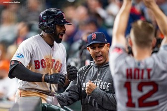 HOUSTON, TX - OCTOBER 17: Jackie Bradley Jr. #19 of the Boston Red Sox reacts with manager Alex Cora after hitting a two-run home run during the sixth inning of game four of the American League Championship Series against the Houston Astros on October 17, 2018 at Minute Maid Park in Houston, Texas. (Photo by Billie Weiss/Boston Red Sox/Getty Images) *** Local Caption *** Jackie Bradley Jr.; Alex Cora