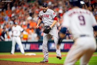 HOUSTON, TX - OCTOBER 17: Matt Barnes #32 of the Boston Red Sox reacts during the seventh inning of game four of the American League Championship Series against the Houston Astros on October 17, 2018 at Minute Maid Park in Houston, Texas. (Photo by Billie Weiss/Boston Red Sox/Getty Images) *** Local Caption *** Matt Barnes