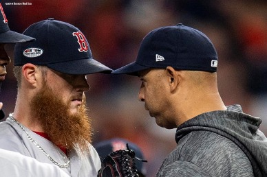 HOUSTON, TX - OCTOBER 17: Manager Alex Cora talks with Craig Kimbrel #46 of the Boston Red Sox in a mound visit during the ninth inning of game four of the American League Championship Series against the Houston Astros on October 17, 2018 at Minute Maid Park in Houston, Texas. (Photo by Billie Weiss/Boston Red Sox/Getty Images) *** Local Caption *** Alex Cora; Craig Kimbrel