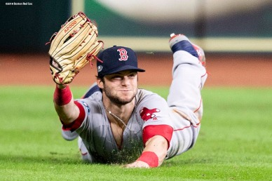 HOUSTON, TX - OCTOBER 17: Andrew Benintendi #16 of the Boston Red Sox catches the final out of the game during the ninth inning of game four of the American League Championship Series against the Houston Astros on October 17, 2018 at Minute Maid Park in Houston, Texas. (Photo by Billie Weiss/Boston Red Sox/Getty Images) *** Local Caption *** Andrew Benintendi
