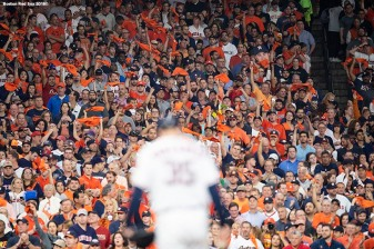 HOUSTON, TX - OCTOBER 18: Fans cheer as Justin Verlander #35 of the Houston Astros takes the mound before game five of the American League Championship Series against the Houston Astros on October 18, 2018 at Minute Maid Park in Houston, Texas. (Photo by Billie Weiss/Boston Red Sox/Getty Images) *** Local Caption *** Justin Verlander