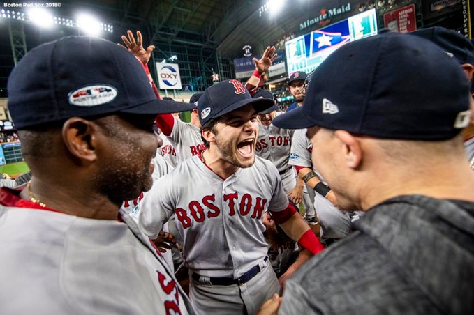 HOUSTON, TX - OCTOBER 18: Andrew Benintendi #16 of the Boston Red Sox celebrates after clinching the American League Championship Series in game five against the Houston Astros on October 18, 2018 at Minute Maid Park in Houston, Texas. (Photo by Billie Weiss/Boston Red Sox/Getty Images) *** Local Caption *** Andrew Benintendi