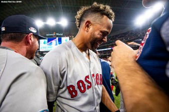 HOUSTON, TX - OCTOBER 18: Xander Bogaerts #2 of the Boston Red Sox celebrate after clinching the American League Championship Series in game five against the Houston Astros on October 18, 2018 at Minute Maid Park in Houston, Texas. (Photo by Billie Weiss/Boston Red Sox/Getty Images) *** Local Caption *** Xander Bogaerts