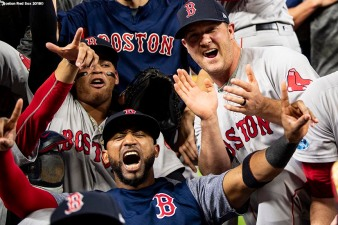 HOUSTON, TX - OCTOBER 18: Eduardo Nunez #36 and Steve Wright #35 of the Boston Red Sox celebrate after clinching the American League Championship Series in game five against the Houston Astros on October 18, 2018 at Minute Maid Park in Houston, Texas. (Photo by Billie Weiss/Boston Red Sox/Getty Images) *** Local Caption *** Eduardo Nunez; Steve Wright