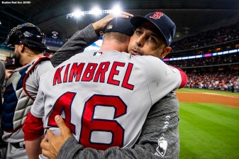 HOUSTON, TX - OCTOBER 18: Manager Alex Cora and Craig Kimbrel #46 of the Boston Red Sox celebrate after clinching the American League Championship Series in game five against the Houston Astros on October 18, 2018 at Minute Maid Park in Houston, Texas. (Photo by Billie Weiss/Boston Red Sox/Getty Images) *** Local Caption *** Alex Cora; Craig Kimbrel