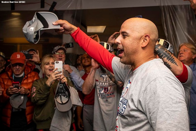 HOUSTON, TX - OCTOBER 18: Manager Alex Cora of the Boston Red Sox celebrates in the clubhouse after clinching the American League Championship Series in game five against the Houston Astros on October 18, 2018 at Minute Maid Park in Houston, Texas. (Photo by Billie Weiss/Boston Red Sox/Getty Images) *** Local Caption ***Alex Cora