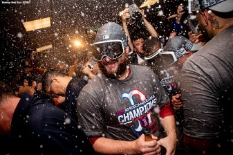 HOUSTON, TX - OCTOBER 18: Ryan Brasier #70 of the Boston Red Sox celebrates with champagne in the clubhouse after clinching the American League Championship Series in game five against the Houston Astros on October 18, 2018 at Minute Maid Park in Houston, Texas. (Photo by Billie Weiss/Boston Red Sox/Getty Images) *** Local Caption ***Ryan Brasier