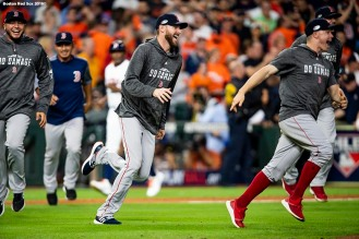 HOUSTON, TX - OCTOBER 18: Chris Sale #41and members of the Boston Red Sox celebrate after clinching the American League Championship Series in game five against the Houston Astros on October 18, 2018 at Minute Maid Park in Houston, Texas. (Photo by Billie Weiss/Boston Red Sox/Getty Images) *** Local Caption *** Chris Sale