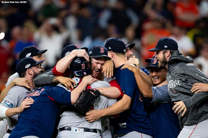 HOUSTON, TX - OCTOBER 18: Craig Kimbrel #46 of the Boston Red Sox celebrates with teammates as the Boston Red Sox clinch the American League Championship Series in game five against the Houston Astros on October 18, 2018 at Minute Maid Park in Houston, Texas. (Photo by Billie Weiss/Boston Red Sox/Getty Images) *** Local Caption *** Craig Kimbrel