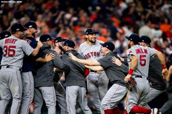 HOUSTON, TX - OCTOBER 18: Nathan Eovaldi #17 of the Boston Red Sox celebrates with teammates as the Boston Red Sox clinch the American League Championship Series in game five against the Houston Astros on October 18, 2018 at Minute Maid Park in Houston, Texas. (Photo by Billie Weiss/Boston Red Sox/Getty Images) *** Local Caption *** Nathan Eovaldi
