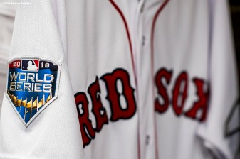 BOSTON, MA - OCTOBER 22: A World Series patch is shown on a jersey of the Boston Red Sox jersey during a workout before the 2018 World Series on October 22, 2018 at Fenway Park in Boston, Massachusetts. (Photo by Billie Weiss/Boston Red Sox/Getty Images) *** Local Caption ***