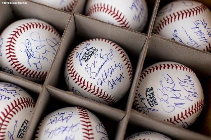 BOSTON, MA - OCTOBER 22: World Series baseballs autographed by members of the Boston Red Sox are shown during a workout before the 2018 World Series on October 22, 2018 at Fenway Park in Boston, Massachusetts. (Photo by Billie Weiss/Boston Red Sox/Getty Images) *** Local Caption ***