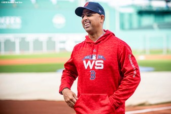 BOSTON, MA - OCTOBER 22: Manager Alex Cora of the Boston Red Sox reacts during a workout before the 2018 World Series on October 22, 2018 at Fenway Park in Boston, Massachusetts. (Photo by Billie Weiss/Boston Red Sox/Getty Images) *** Local Caption *** Alex Cora