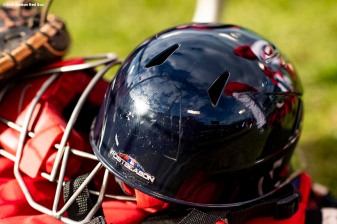 BOSTON, MA - OCTOBER 22: A catcher's mask of the Boston Red Sox is shown during a workout before the 2018 World Series on October 22, 2018 at Fenway Park in Boston, Massachusetts. (Photo by Billie Weiss/Boston Red Sox/Getty Images) *** Local Caption ***