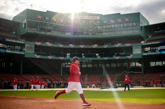 BOSTON, MA - OCTOBER 22: Brock Holt #12 of the Boston Red Sox runs the bases during a workout before the 2018 World Series on October 22, 2018 at Fenway Park in Boston, Massachusetts. (Photo by Billie Weiss/Boston Red Sox/Getty Images) *** Local Caption *** Brock Holt
