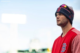 BOSTON, MA - OCTOBER 22: Andrew Benintendi #16 of the Boston Red Sox looks on during a workout before the 2018 World Series on October 22, 2018 at Fenway Park in Boston, Massachusetts. (Photo by Billie Weiss/Boston Red Sox/Getty Images) *** Local Caption *** Andrew Benintendi