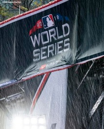 BOSTON, MA - OCTOBER 23: Rain falls before game one of the 2018 World Series between the Boston Red Sox and the Los Angeles Dodgers on October 23, 2018 at Fenway Park in Boston, Massachusetts. (Photo by Billie Weiss/Boston Red Sox/Getty Images) *** Local Caption ***