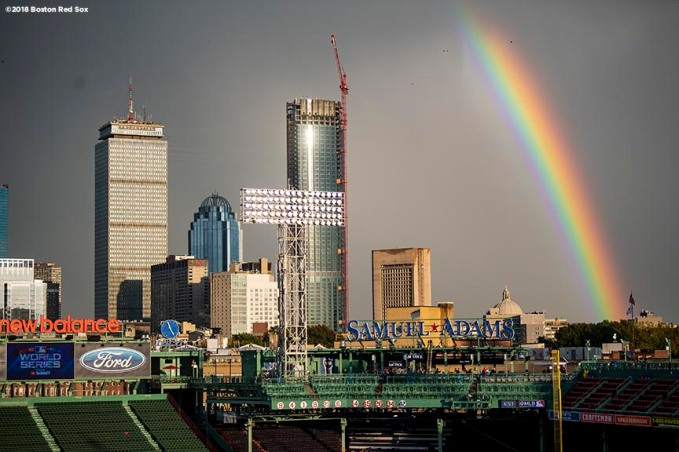 BOSTON, MA - OCTOBER 23: A rainbow forms over Fenway Park before game one of the 2018 World Series between the Boston Red Sox and the Los Angeles Dodgers on October 23, 2018 at Fenway Park in Boston, Massachusetts. (Photo by Billie Weiss/Boston Red Sox/Getty Images) *** Local Caption ***