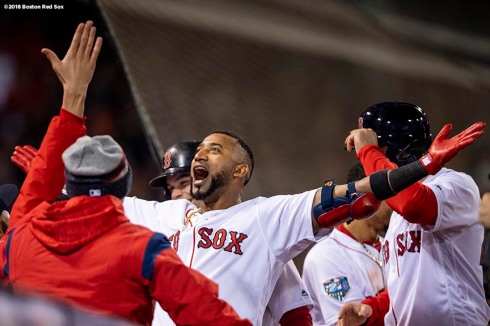 BOSTON, MA - OCTOBER 23: Eduardo Nunez #36 of the Boston Red Sox reacts after hitting a three run home run during the seventh inning of game one of the 2018 World Series against the Los Angeles Dodgers on October 23, 2018 at Fenway Park in Boston, Massachusetts. (Photo by Billie Weiss/Boston Red Sox/Getty Images) *** Local Caption *** Eduardo Nunez