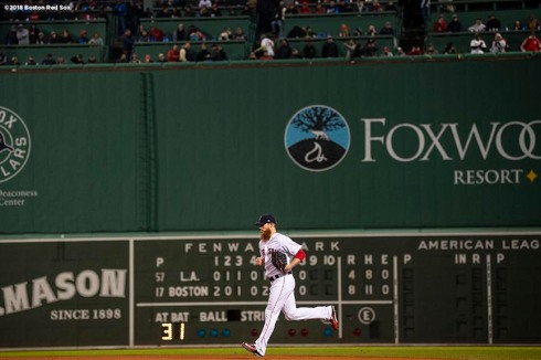BOSTON, MA - OCTOBER 23: Craig Kimbrel #46 of the Boston Red Sox enters the game during the ninth inning of game one of the 2018 World Series against the Los Angeles Dodgers on October 23, 2018 at Fenway Park in Boston, Massachusetts. (Photo by Billie Weiss/Boston Red Sox/Getty Images) *** Local Caption *** Craig Kimbrel