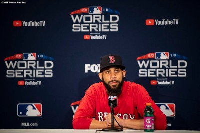 BOSTON, MA - OCTOBER 23: David Price #24 of the Boston Red Sox addresses the media during a press conference before game one of the 2018 World Series against the Los Angeles Dodgers on October 23, 2018 at Fenway Park in Boston, Massachusetts. (Photo by Billie Weiss/Boston Red Sox/Getty Images) *** Local Caption *** David Price