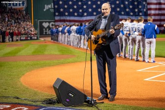 BOSTON, MA - OCTOBER 23: Singer James Taylor sings the National Anthem before game one of the 2018 World Series between the Boston Red Sox and the Los Angeles Dodgers on October 23, 2018 at Fenway Park in Boston, Massachusetts. (Photo by Billie Weiss/Boston Red Sox/Getty Images) *** Local Caption *** James Taylor