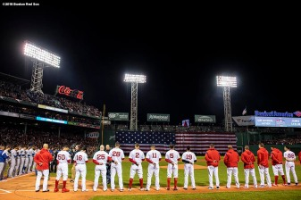 BOSTON, MA - OCTOBER 23: Starting lineups are introduced during the National Anthem before game one of the 2018 World Series between the Boston Red Sox and the Los Angeles Dodgers on October 23, 2018 at Fenway Park in Boston, Massachusetts. (Photo by Billie Weiss/Boston Red Sox/Getty Images) *** Local Caption ***