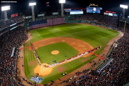 BOSTON, MA - OCTOBER 23: A general view as starting lineups are introduced during the National Anthem before game one of the 2018 World Series between the Boston Red Sox and the Los Angeles Dodgers on October 23, 2018 at Fenway Park in Boston, Massachusetts. (Photo by Billie Weiss/Boston Red Sox/Getty Images) *** Local Caption ***